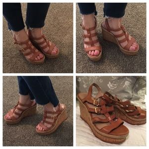 Vince Camuto Tan Leather Strappy Wedge Sandals